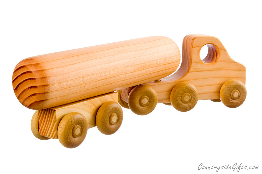 Home Shop Toys Toy Trucks Wooden Toy Semi Truck with Tanker Trailer
